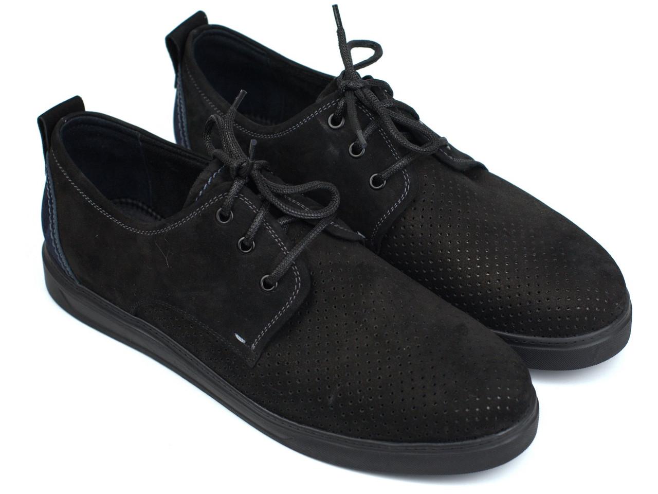 Мужская обувь больших размеров батальна летние кроссовки черные нубук перфорация Rosso Avangard BS Slipy Black