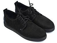 Мужская обувь больших размеров батальна летние кроссовки черные нубук перфорация Rosso Avangard BS Slipy Black, фото 1
