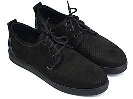 Чоловіче взуття великих розмірів батальна літні кросівки чорні нубук перфорація Rosso Avangard BS Slipy Black