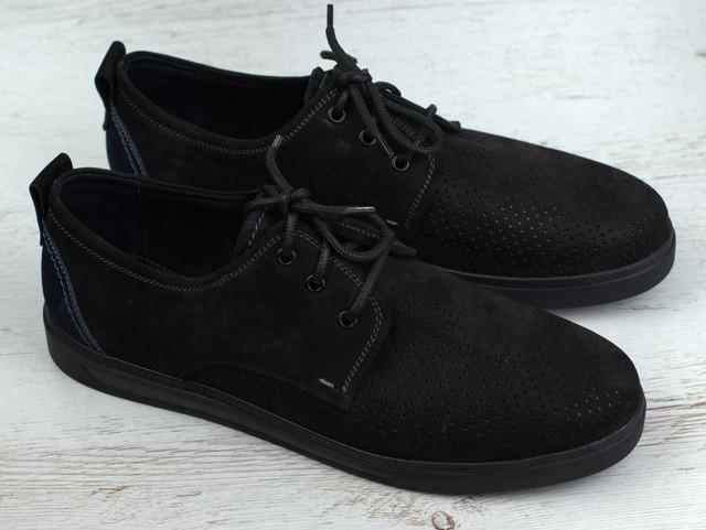 Взуття великих розмірів чоловіча літні кросівки чорні кеди нубук перфорація Rosso Avangard BS Slipy Black Nub
