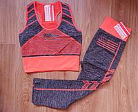 Спортивный комплект женский для фитнеса, топ+леггинсы. Оранжевый  42-46 р., фото 1