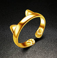 Кольцо Кошка Rinhoo 15 размер регулируемый Золотистый