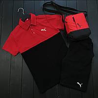 Спортивный костюм мужской в стиле Puma черно-красный Шорты + Футболка поло | комплект летний мужской