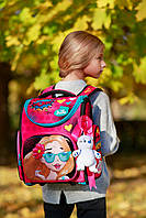 Рюкзак школьный для 1-4 класса для девочки с 3Dрисунком рюкзак для сменки и мишка в подарок Delune 3-174