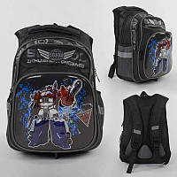Рюкзак детский школьный Трансформеры С 43554 3D принтом,с 2 карманами, ортопедической спинкой, Черный