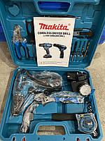 Аккумуляторный шуруповерт MAKITA DF330DWE и набор инструментов в кейсе