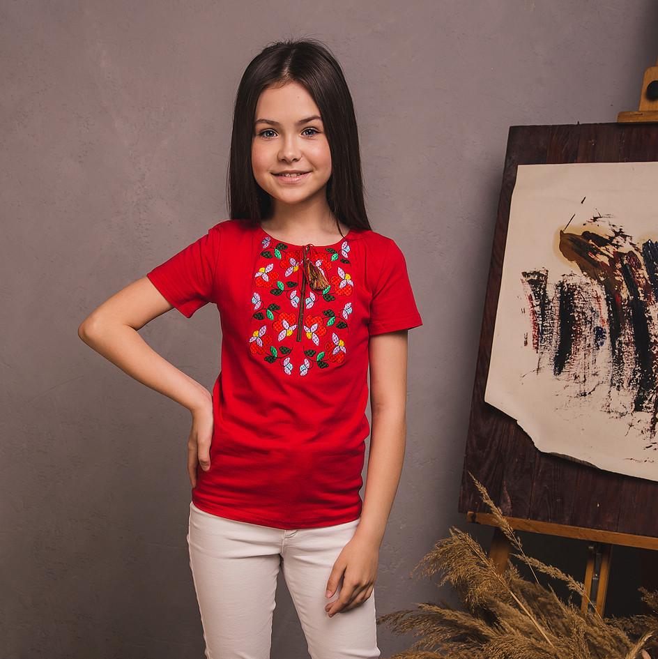 Вишита футболка Moderika Квіткова червоного кольору