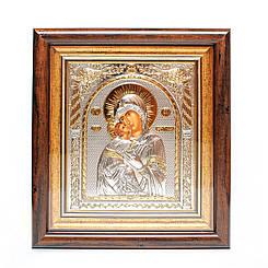 Икона Владимирская Богородица 30,5х28,5 см по стеклом в серебре и позолоте ( Божья Матерь )