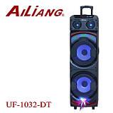 Аккумуляторная колонка чемодан Ailiang UF-1032-DT, беспроводная 10 дюймовая акустика, комбоусилитель, микрофон, фото 5