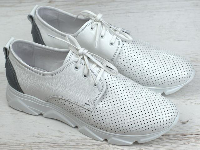 Кросівки білі чоловічі літні шкіряні перфорація взуття великих розмірів Rosso Avangard Slipy White Star BS