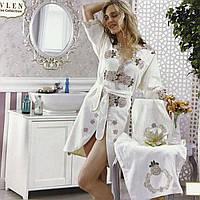Набор подарочный бамбуковый халат и 2 полотенца Miss Bella Александра Турция кремовый