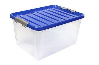 Ящик пластиковий з засувками кліпсами великий 31л Heidrun ClipBOX light 48 * 35 * 25 см для зберігання