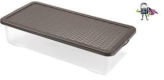 Ящик під ліжко 40л, прозорий Heidrun R-BOX 80 * 40 * 18см (HDR-4687) плоский бокс пластиковий з кришкою