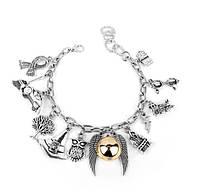 Женский браслет на руку с шармами Гарри Поттер MQCHUN Серебристый