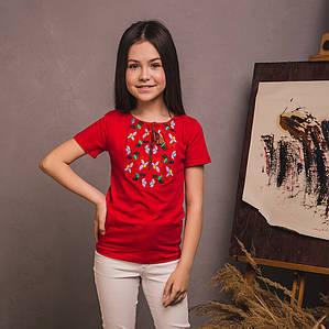 Красная футболка для девочки Цветочек