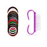 Набір інструментів для дизайну нігтів. Декор для манікюру - пензлики, стрази, дотси, скотч-стрічки, пилочки., фото 4