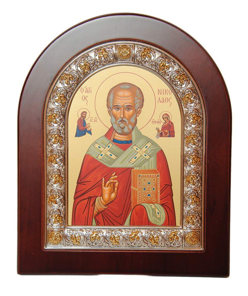 Икона Николая Чудотворца 13 х 11 см в серебряной рамке с позолотой