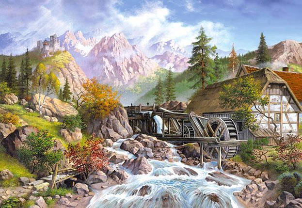 Пазлы Водяная мельница на 1000 элементов, фото 2