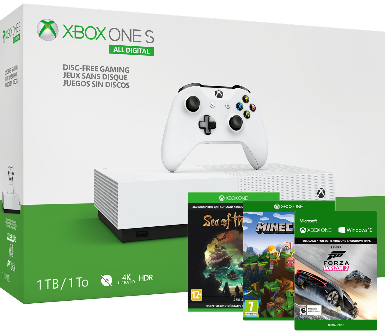 Microsoft Xbox One S 1Tb White All-Digital Edition + Доп. 3 игры ( Гарантия 24 месяцев)