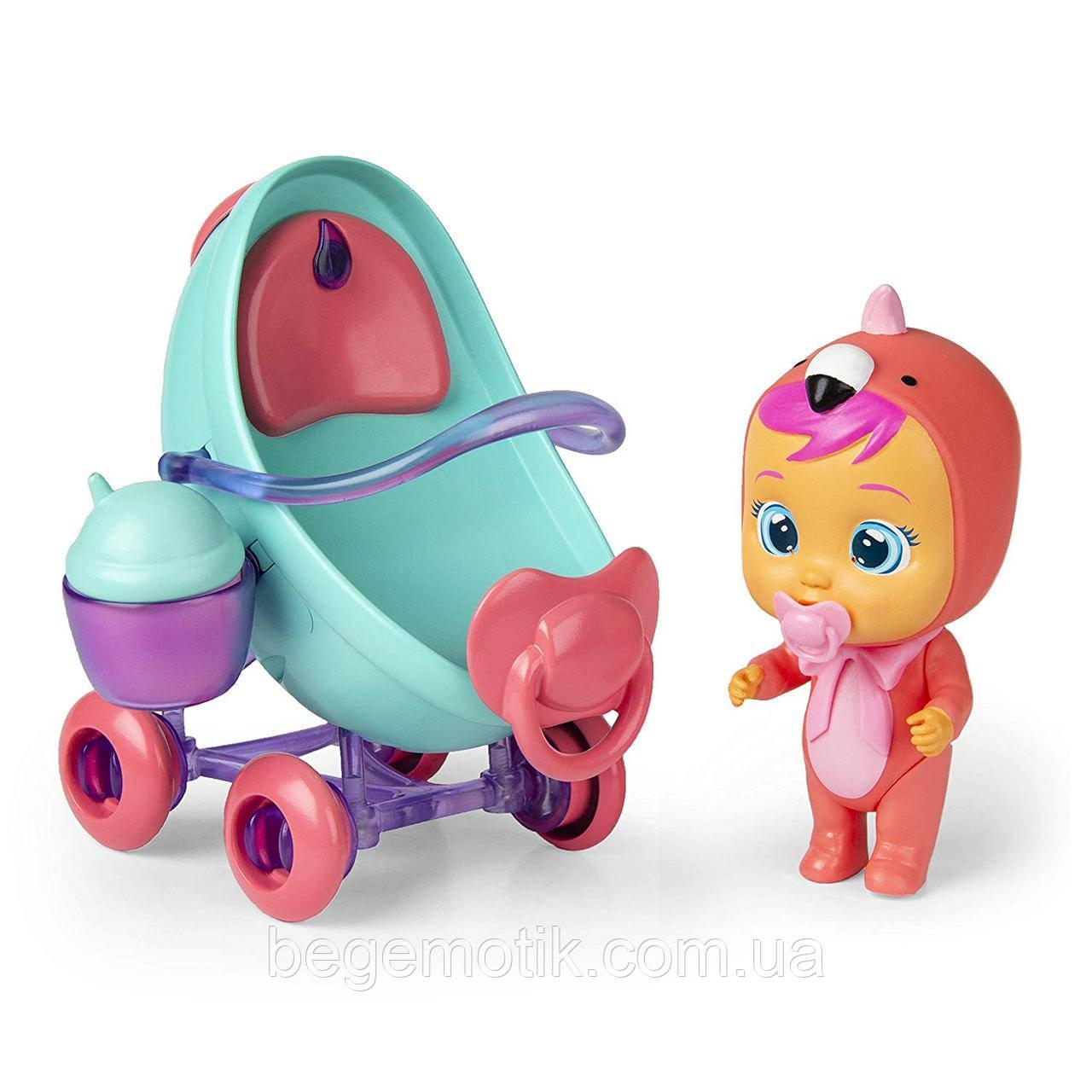 Cry Babies Игровой набор Край беби пупс Фламинго с коляской Cry Babies MagicTears Fancy's Vehicle