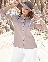 Летняя коттоновая прямая женская рубашка (1387.4181-4182  svt) Кофе