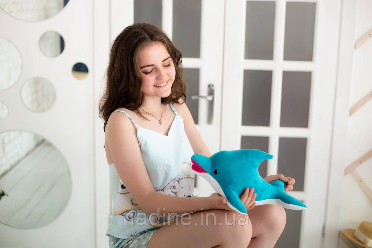Дельфин игрушка Eirena Nadine (312-B-30) плюшевый 30 см бирюзовый