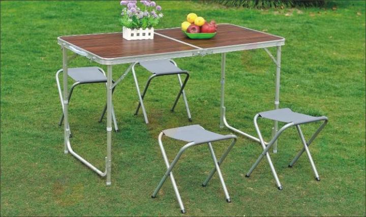 Стол для пикника  раскладной со 4 стульями Rainberg RB2300 120х60х70 см см (Коричневый)