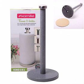Держатель для бумажных полотенец вертикальный серый Kamille КМ-0181
