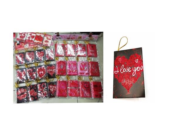 """Поздравительные открытки """"Валентинки''с глиттером (6,7x9,4 см, 120 шт\блистере  (дизайны микс)."""