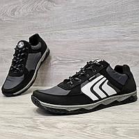 40, 42 і 43 р. Кросівки чоловічі демісезонні чорні з сірим (Кф-78чср)