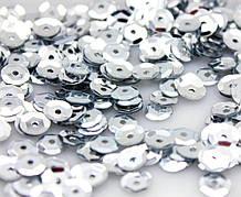 Пайетки круглые 6 мм шестигранник, серебристый (5 гр)