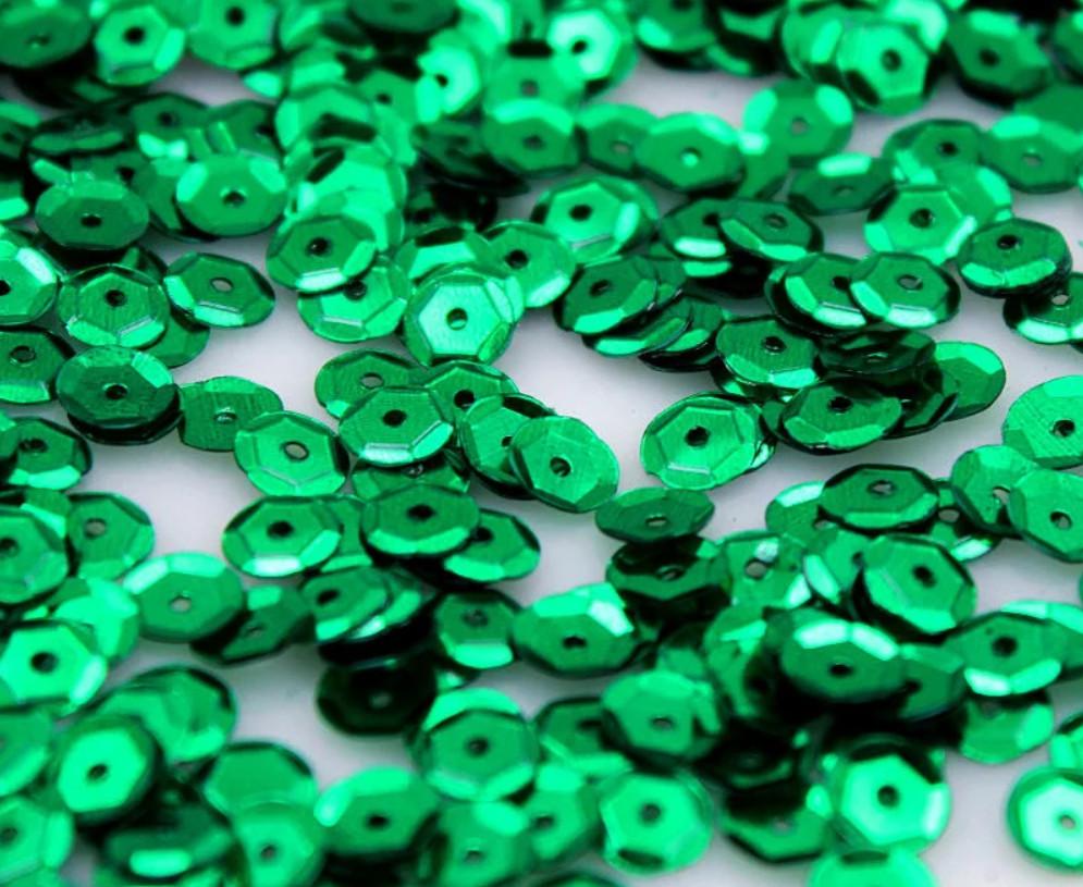 Пайетки круглые 6 мм шестигранник, зеленые (5 гр)