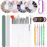 Набор инструментов для дизайна ногтей. Декор для маникюра - кисточки, стразы, дотсы, скотч-ленты, пилочки.
