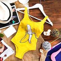 Закритий купальник XS S M L принт Банан |женский слитный закрытый спортивный купальник желтый 42 44 46 48