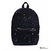 Черный рюкзак с синими точками