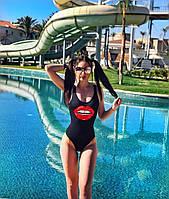 Закритий купальник XS S M L принт Губи |женский слитный закрытый спортивный купальник черный губы 42 44 46 48