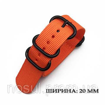 ZULU Military тканевый ремешок 20 мм оранжевый ORANGE для часов нейлон милитари Military военный