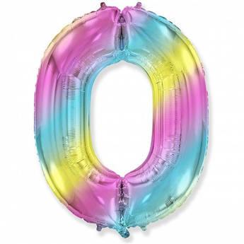Шар фольга цифра 0 Ноль Разноцветный 102 см