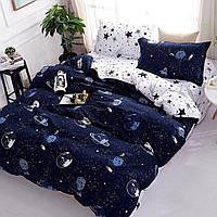 Комплект постельного белья размер ПОЛУТОРНЫЙ космос материал - бязь синий с белым