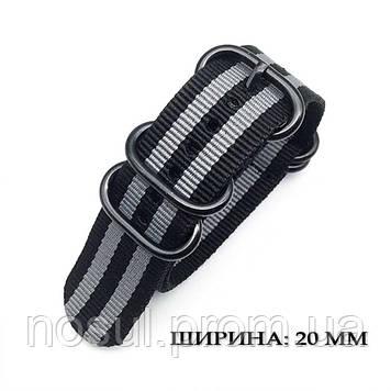 ZULU Military тканевый ремешок 20 мм B25 (черный-серый) для часов нейлон милитари Military военный