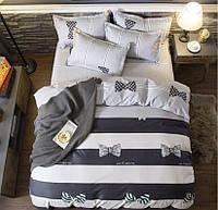 Комплект постельного белья размер ЕВРО бантики материал - бязь серый с белым