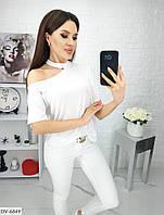 Оригинальная женская летняя футболка с чокером арт 5139