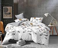 Комплект постельного белья размер ПОЛУТОРНЫЙ перья материал - бязь серый с белым