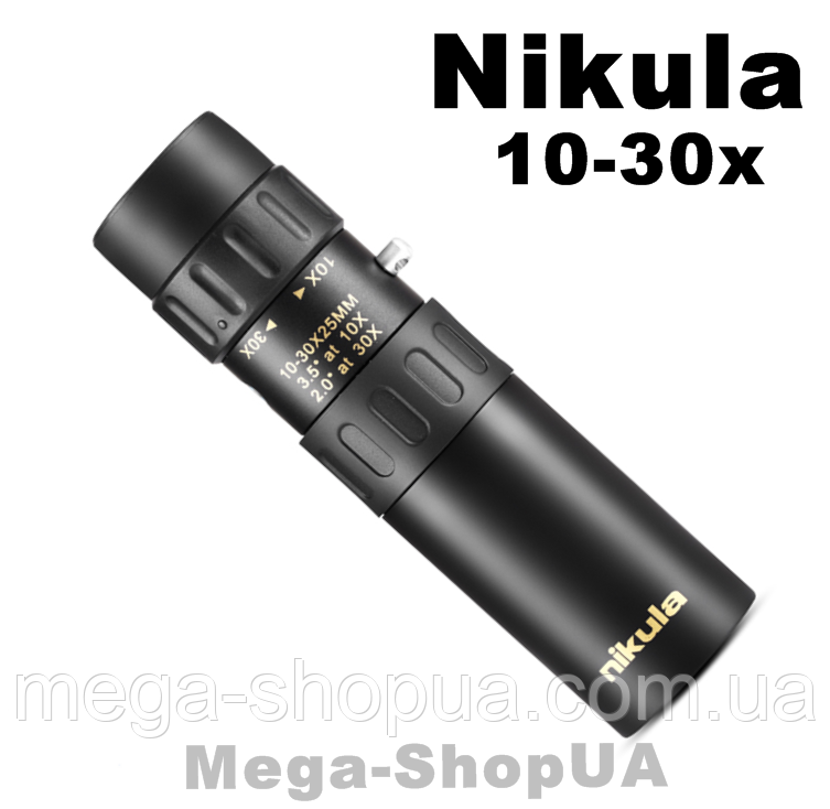 Компактный монокуляр Nikulа 10-30x25 для наблюдения на рыбалке, охоте и природе. Мощный монокуляр