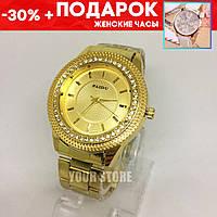 Часы женские наручные Paidu золотые + подарок часы код-108