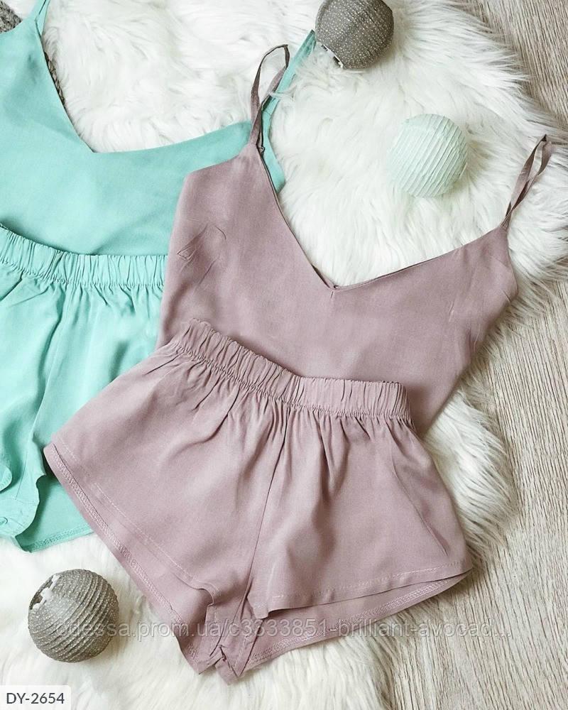 Пижама женская в двух пастельных тонах (топ+шорты)