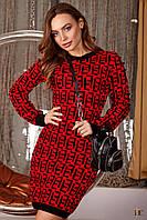 Вязаное мини-платье с длинным рукавом