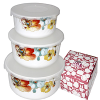 Набор ёмкостей (судков) для хранения пищевых продуктов, 3 шт., стеклокерамика (550; 900; 1400 мл.)