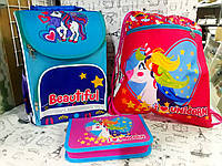 Набор для Девочки Smile Пони рюкзак 988071 пенал 531787 сумка для обуви 555345 + Подарок, фото 1