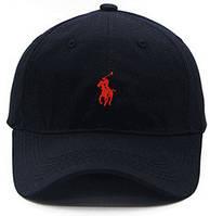 Кепка Polo Ralph Lauren с красным всадником чёрная мужская женская бейсболка поло унисекс